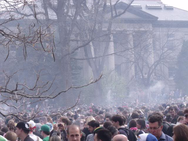 A very smoky scene from 420 at CU Boulder