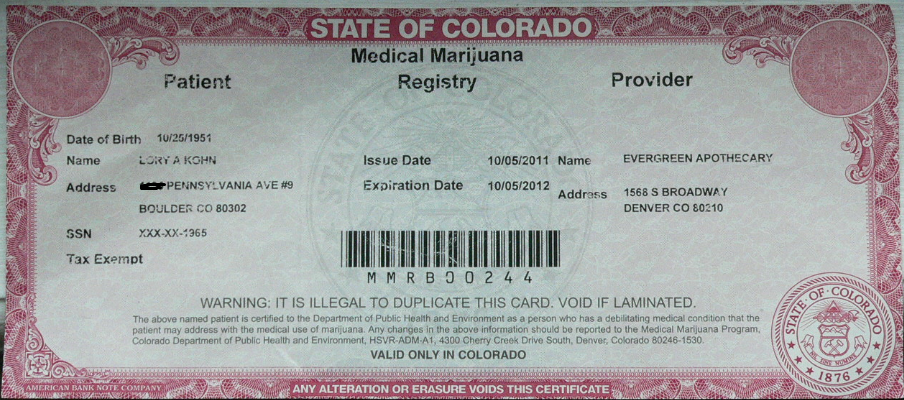 State of Colorado Medical Marijuana red card or license