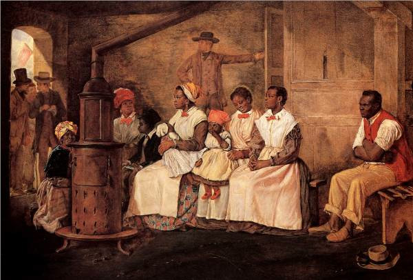 Painting of house slaves in white aprons