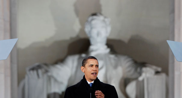 Obama speaking in front of Lincoln statue Lincoln Memorial Washington DC