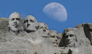photoshop of Obama on Mr. Rushmore with moon in background