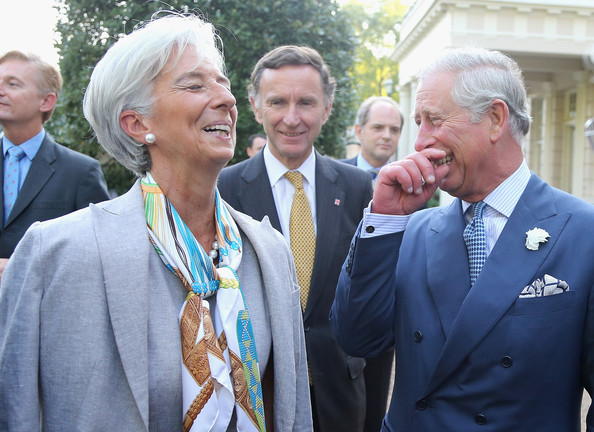 The International Monetary Fund's Chairwoman Christine Lagarde laughs at one of Bonnie Prince Charles' bawdy tales. The International Monetary Fund's Chairwoman Christine Lagarde laughs at one of Bonnie Prince Charles' tales.