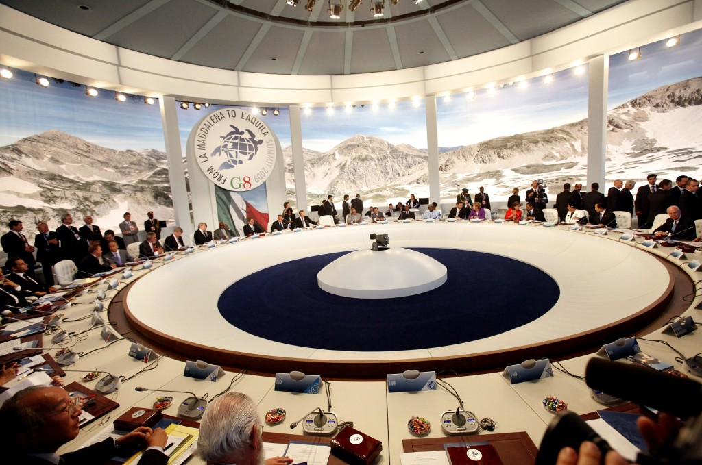 conference room at an alpine G8 summit held in L'Aquila, Italy.