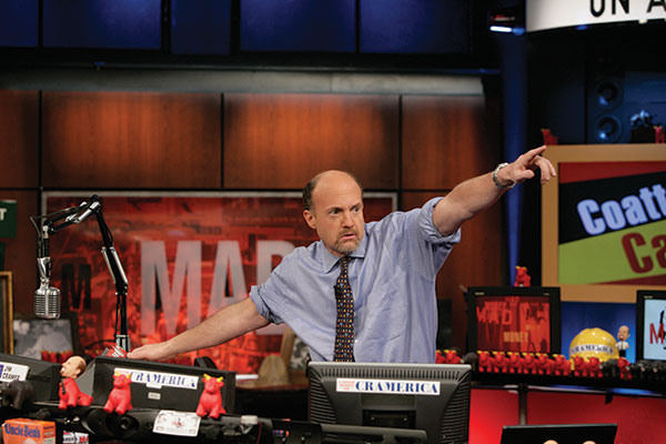 Jim Cramer pointing on the set of CNBC' Mad Money