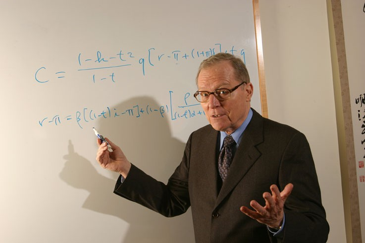 Harvard Economics Professor Jorgenson at a whiteboard