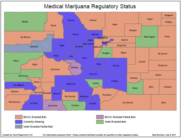 Map of Colorado counties which have opted out of MMJ, courtesy of Colorado Counties, Inc.