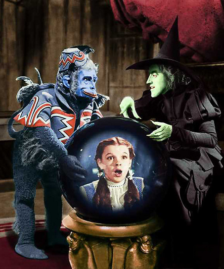 the wicked witch of the west with a flying monkey and dorothy on TV
