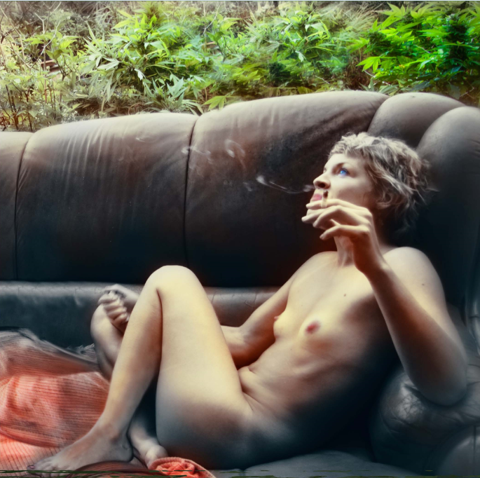 girl on couch with doob