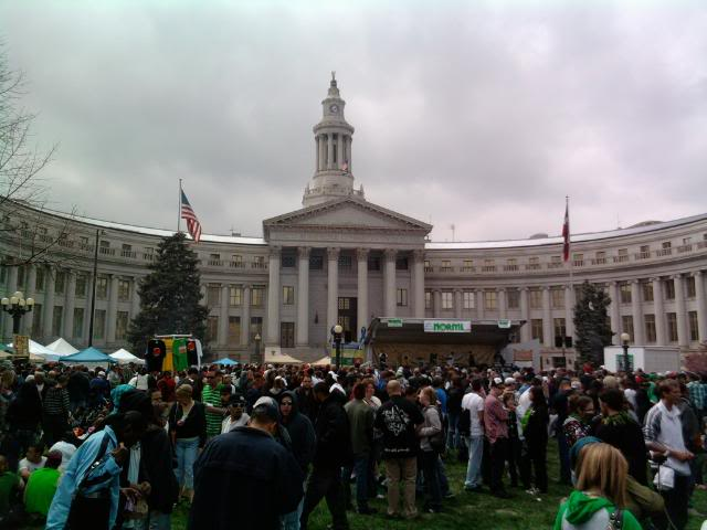 pro marijuana rally in front of Denver courthouse