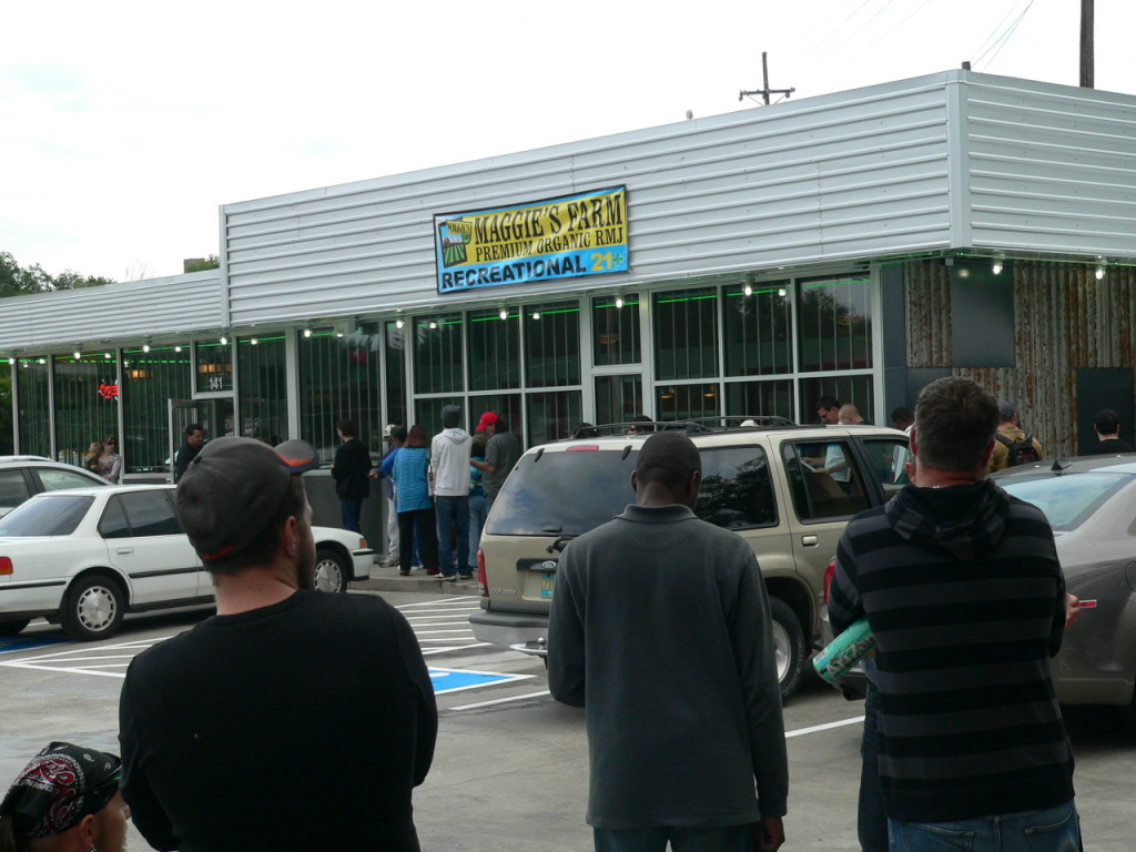 the line forms early at the grand opening of maggies farm RMJ dispensary in Manitou Springs Co